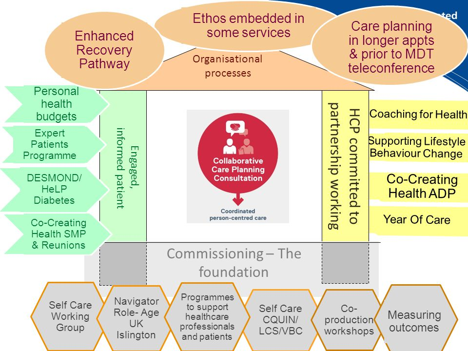 Year Of Care Co-Creating Health ADP Supporting Lifestyle Behaviour Change Coaching for Health Engaged, informed patient HCP committed to partnership working Organisational processes Commissioning – The foundation Self Care Working Group Navigator Role- Age UK Islington Self Care CQUIN/ LCS/VBC Co- production workshops Measuring outcomes Personal health budgets Expert Patients Programme Co-Creating Health SMP & Reunions DESMOND/ HeLP Diabetes Ethos embedded in some services Care planning in longer appts & prior to MDT teleconference Enhanced Recovery Pathway Programmes to support healthcare professionals and patients