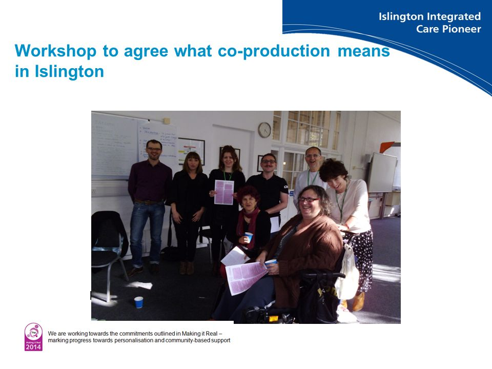 Workshop to agree what co-production means in Islington Islington Personal Budgets Network meeting June 2013