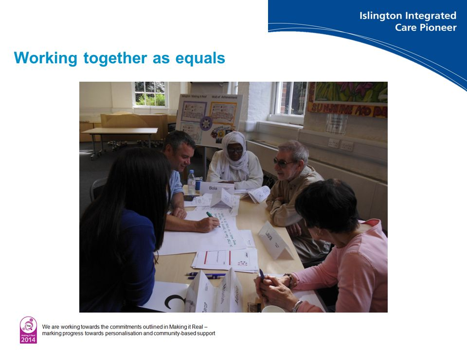 Working together as equals Islington Personal Budgets Network meeting June 2013