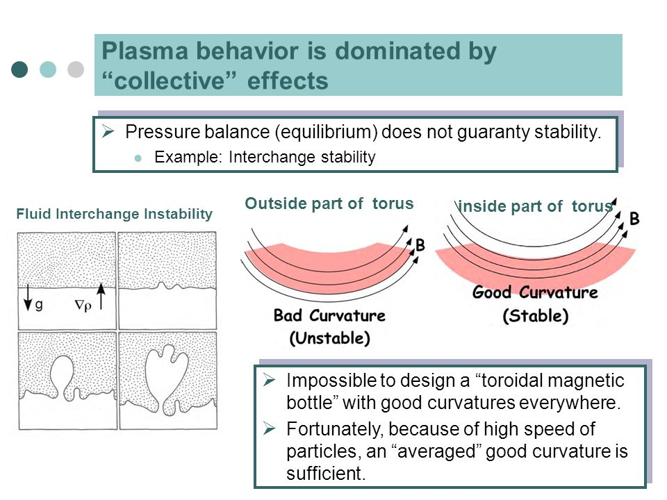Plasma behavior is dominated by collective effects  Pressure balance (equilibrium) does not guaranty stability.