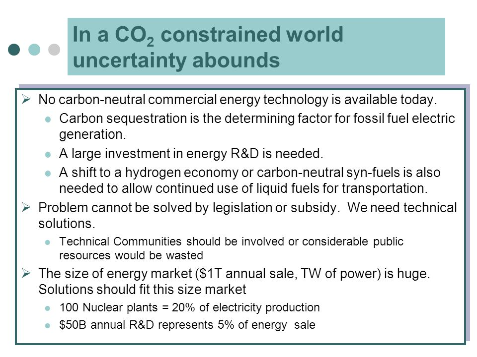 In a CO 2 constrained world uncertainty abounds  No carbon-neutral commercial energy technology is available today. Carbon sequestration is the deter
