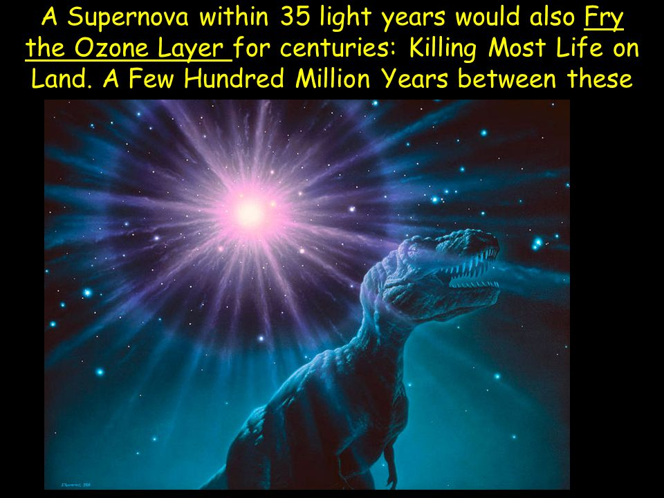 A Supernova within 35 light years would also Fry the Ozone Layer for centuries: Killing Most Life on Land.
