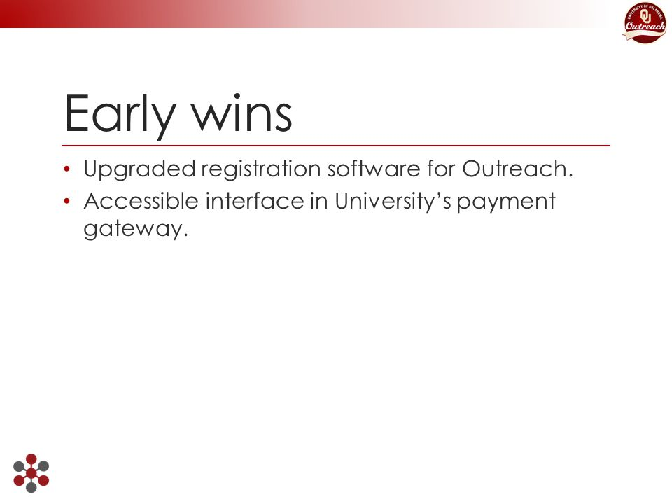 Early wins Upgraded registration software for Outreach.