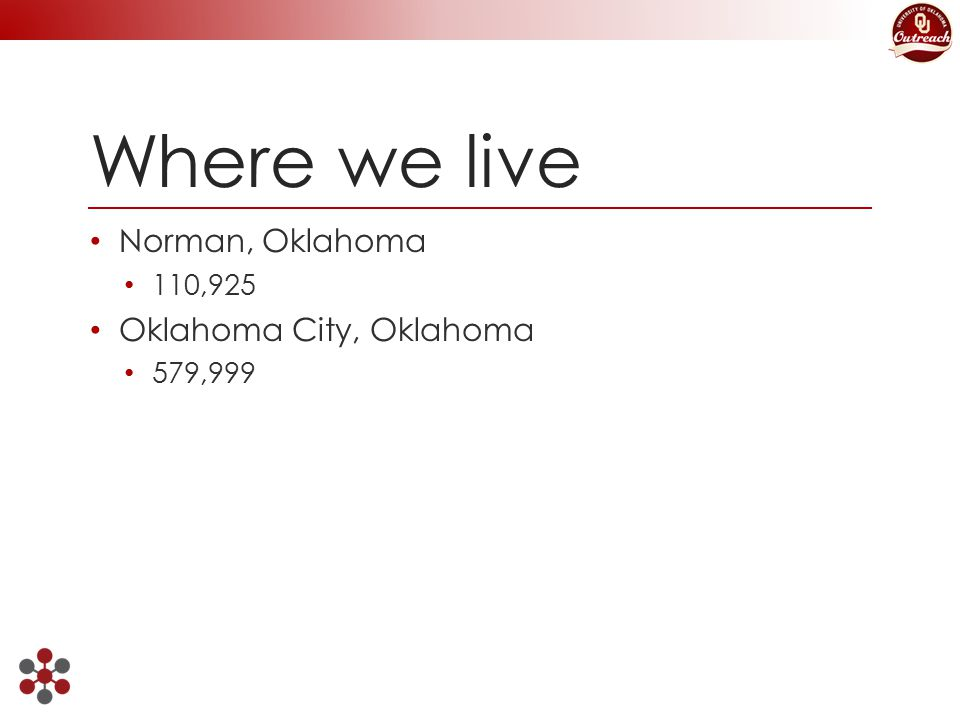 Where we live Norman, Oklahoma 110,925 Oklahoma City, Oklahoma 579,999