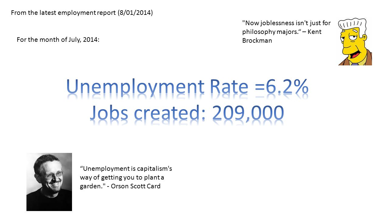 From the latest employment report (8/01/2014) For the month of July, 2014: Now joblessness isn t just for philosophy majors. – Kent Brockman Unemployment is capitalism s way of getting you to plant a garden. - Orson Scott Card