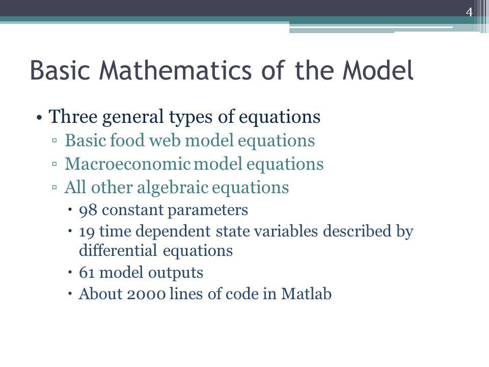 Basic Mathematics of the Model Three general types of equations ▫Basic food web model equations ▫Macroeconomic model equations ▫All other algebraic eq
