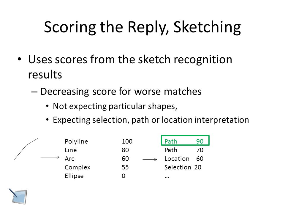Scoring the Reply, Sketching Uses scores from the sketch recognition results – Decreasing score for worse matches Not expecting particular shapes, Expecting selection, path or location interpretation Polyline100 Line80 Arc60 Complex55 Ellipse0 Path 90 Path 70 Location 60 Selection 20 …