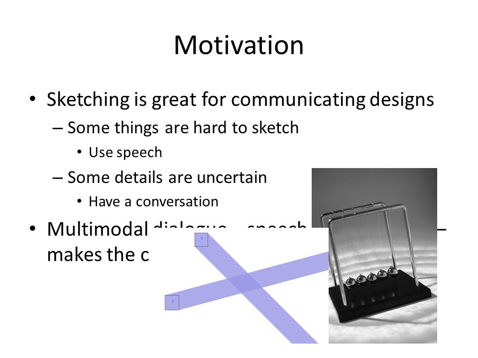 Motivation Sketching is great for communicating designs – Some things are hard to sketch Use speech – Some details are uncertain Have a conversation Multimodal dialogue – speech and sketching – makes the computer more of a partner