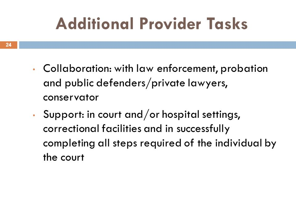 Additional Provider Tasks 24 Collaboration: with law enforcement, probation and public defenders/private lawyers, conservator Support: in court and/or hospital settings, correctional facilities and in successfully completing all steps required of the individual by the court