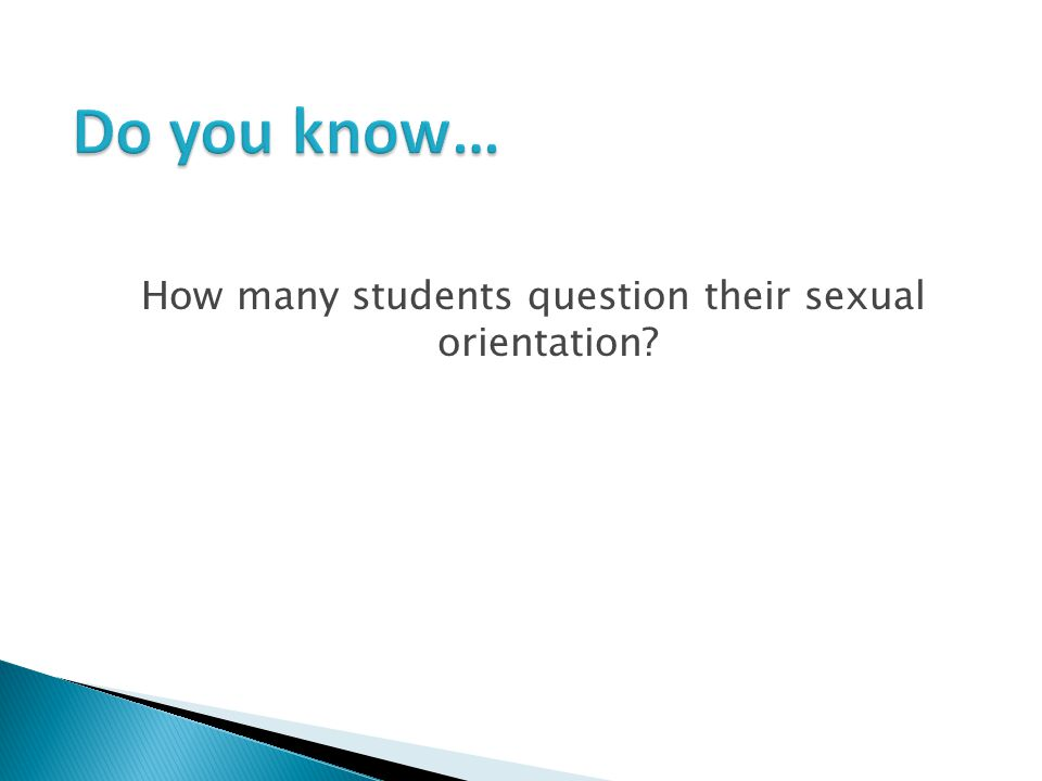 How many students question their sexual orientation?