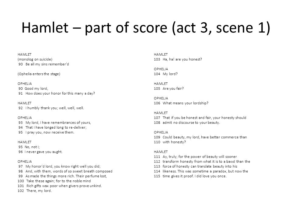 Hamlet – performances Patrick Alparone and Anna Bullard (This is Hamlet): http://www.youtube.com/watch?feature=player_detail page&v=iXrTWZ6otZo#t=202s Derek Jacobi and Lalla Ward (BBC s 1980) http://www.youtube.com/watch?NR=1&v=DUdVVnk3 m24&feature=endscreen