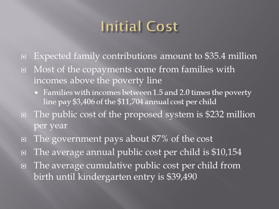  Expected family contributions amount to $35.4 million  Most of the copayments come from families with incomes above the poverty line  Families with incomes between 1.5 and 2.0 times the poverty line pay $3,406 of the $11,704 annual cost per child  The public cost of the proposed system is $232 million per year  The government pays about 87% of the cost  The average annual public cost per child is $10,154  The average cumulative public cost per child from birth until kindergarten entry is $39,490