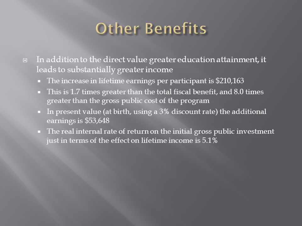  In addition to the direct value greater education attainment, it leads to substantially greater income  The increase in lifetime earnings per participant is $210,163  This is 1.7 times greater than the total fiscal benefit, and 8.0 times greater than the gross public cost of the program  In present value (at birth, using a 3% discount rate) the additional earnings is $53,648  The real internal rate of return on the initial gross public investment just in terms of the effect on lifetime income is 5.1%