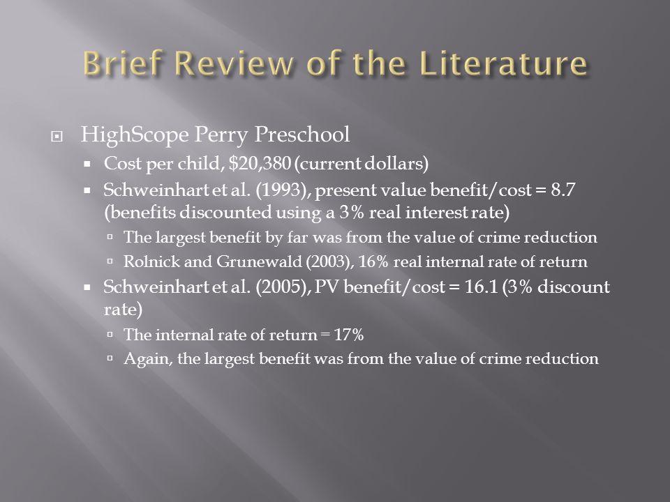  HighScope Perry Preschool  Cost per child, $20,380 (current dollars)  Schweinhart et al.