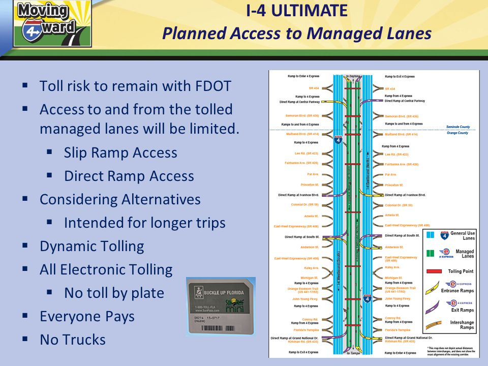 I-4 ULTIMATE Planned Access to Managed Lanes  Toll risk to remain with FDOT  Access to and from the tolled managed lanes will be limited.