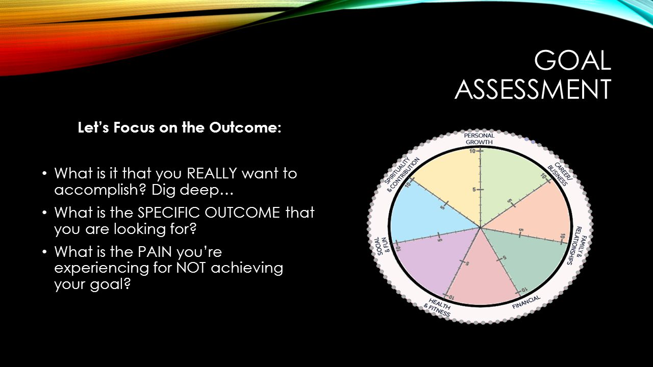 GOAL ASSESSMENT Let's Focus on the Outcome: What is it that you REALLY want to accomplish.