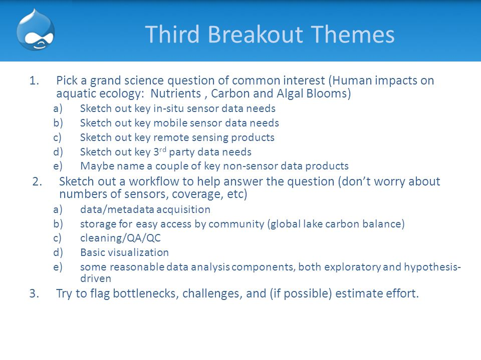Third Breakout Themes 1.Pick a grand science question of common interest (Human impacts on aquatic ecology: Nutrients, Carbon and Algal Blooms) a)Sket