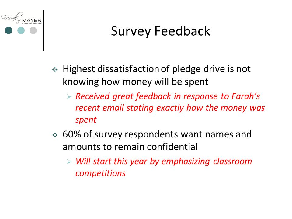 Survey Feedback  Highest dissatisfaction of pledge drive is not knowing how money will be spent  Received great feedback in response to Farah's recent email stating exactly how the money was spent  60% of survey respondents want names and amounts to remain confidential  Will start this year by emphasizing classroom competitions