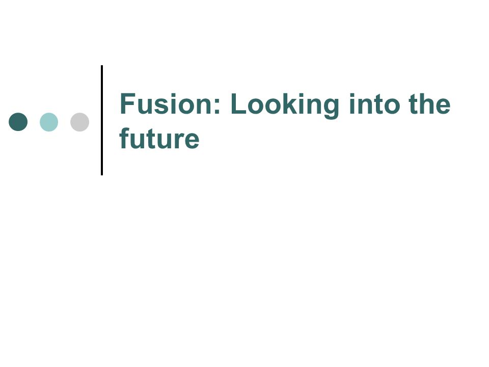 Fusion: Looking into the future