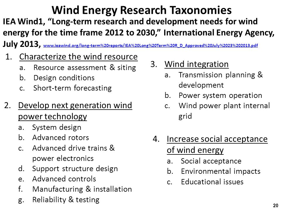 Wind Energy Research Taxonomies IEA Wind1, Long-term research and development needs for wind energy for the time frame 2012 to 2030, International Energy Agency, July 2013, www.ieawind.org/long-term%20reports/IEA%20Long%20Term%20R_D_Approved%20July%2023%202013.pdf www.ieawind.org/long-term%20reports/IEA%20Long%20Term%20R_D_Approved%20July%2023%202013.pdf 20 1.Characterize the wind resource a.Resource assessment & siting b.Design conditions c.Short-term forecasting 2.Develop next generation wind power technology a.System design b.Advanced rotors c.Advanced drive trains & power electronics d.Support structure design e.Advanced controls f.Manufacturing & installation g.Reliability & testing 3.Wind integration a.Transmission planning & development b.Power system operation c.Wind power plant internal grid 4.Increase social acceptance of wind energy a.Social acceptance b.Environmental impacts c.Educational issues