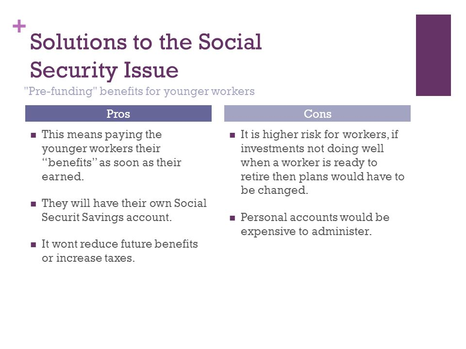 "+ Solutions to the Social Security Issue This means paying the younger workers their ""benefits"" as soon as their earned. They will have their own Soci"