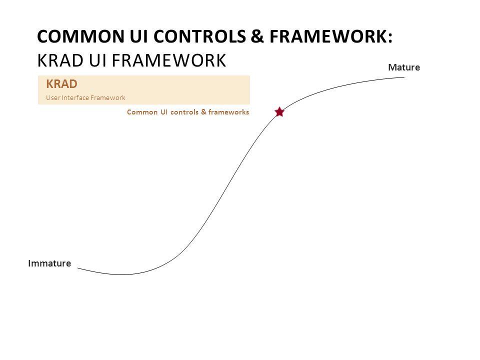 Mature Immature KRAD User Interface Framework Common UI controls & frameworks COMMON UI CONTROLS & FRAMEWORK: KRAD UI FRAMEWORK