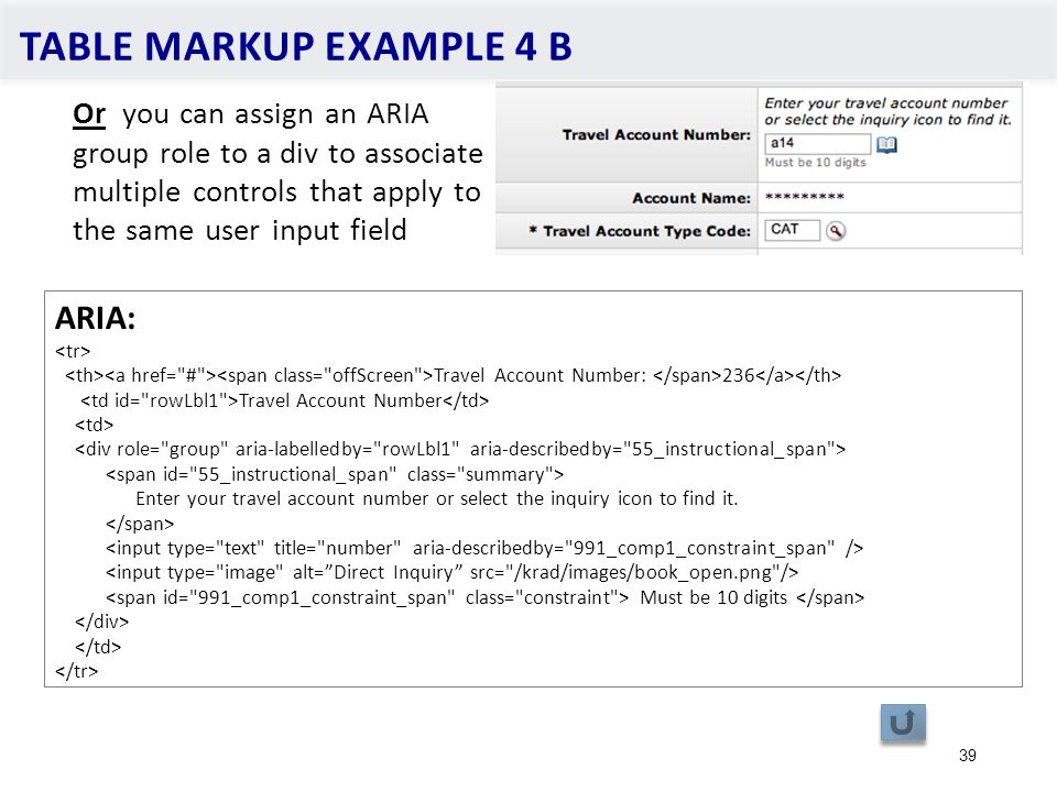 TABLE MARKUP EXAMPLE 4 B 39 Or you can assign an ARIA group role to a div to associate multiple controls that apply to the same user input field ARIA: Travel Account Number: 236 Travel Account Number Enter your travel account number or select the inquiry icon to find it.