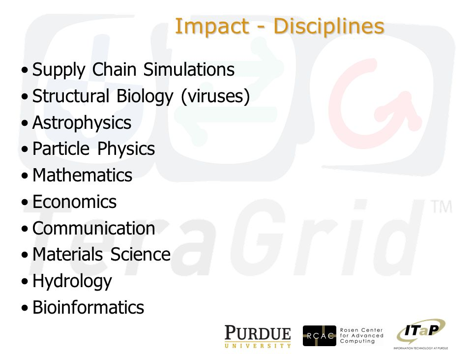Impact - Disciplines Supply Chain Simulations Structural Biology (viruses) Astrophysics Particle Physics Mathematics Economics Communication Materials Science Hydrology Bioinformatics