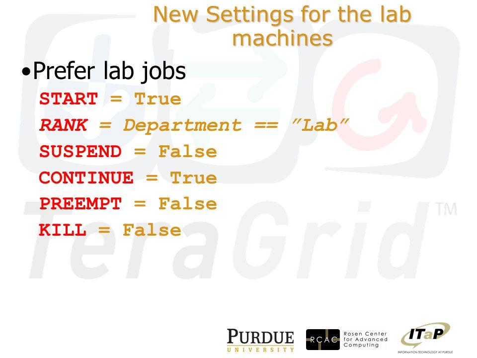 New Settings for the lab machines Prefer lab jobs START = True RANK = Department == Lab SUSPEND = False CONTINUE = True PREEMPT = False KILL = False