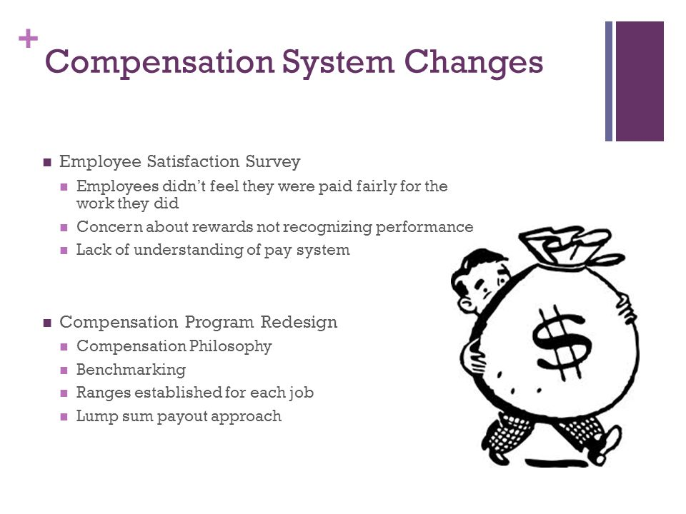 + Compensation System Changes Employee Satisfaction Survey Employees didn't feel they were paid fairly for the work they did Concern about rewards not recognizing performance Lack of understanding of pay system Compensation Program Redesign Compensation Philosophy Benchmarking Ranges established for each job Lump sum payout approach