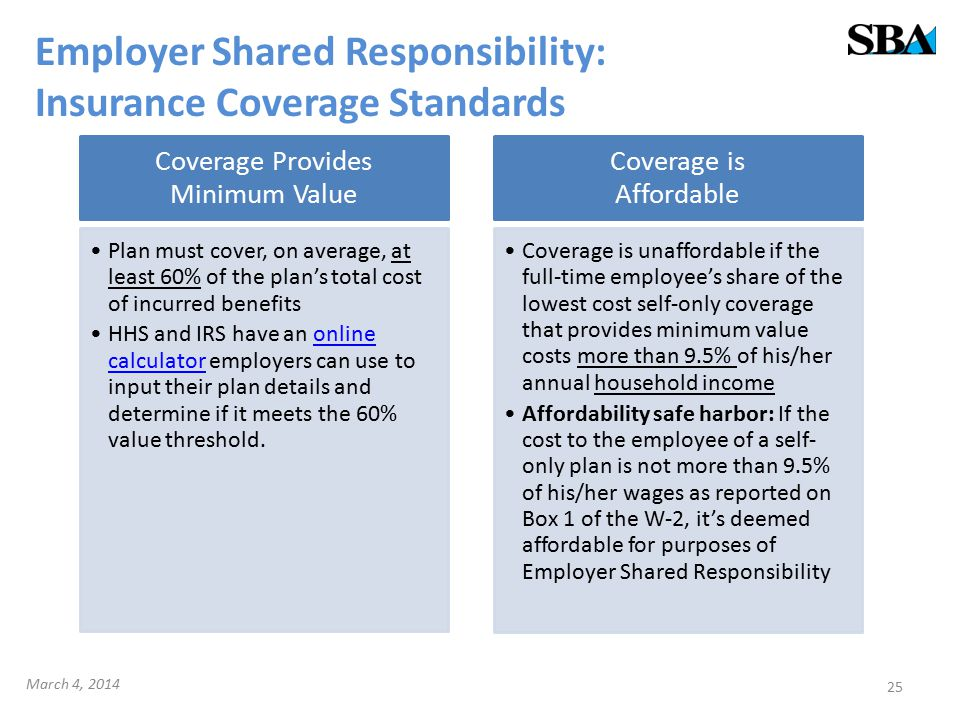 Employer Shared Responsibility: Insurance Coverage Standards Coverage Provides Minimum Value Plan must cover, on average, at least 60% of the plan's total cost of incurred benefits HHS and IRS have an online calculator employers can use to input their plan details and determine if it meets the 60% value threshold.online calculator Coverage is Affordable Coverage is unaffordable if the full-time employee's share of the lowest cost self-only coverage that provides minimum value costs more than 9.5% of his/her annual household income Affordability safe harbor: If the cost to the employee of a self- only plan is not more than 9.5% of his/her wages as reported on Box 1 of the W-2, it's deemed affordable for purposes of Employer Shared Responsibility 25 March 4, 2014