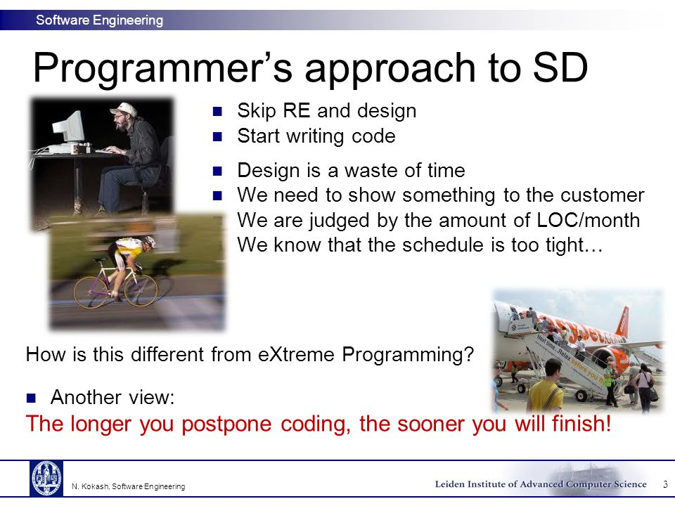 Software Engineering SUMMARY Essence of the design process: decompose system into parts Desirable properties of a decomposition:  coupling/cohesion, information hiding, (layers of) abstraction There have been many attempts to express these properties in numbers Design methods:  functional decomposition, data flow design, data structure design, object-oriented design 54 N.