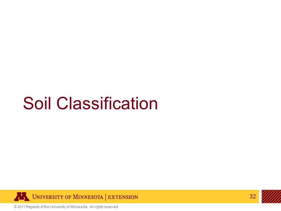 32 © 2011 Regents of the University of Minnesota. All rights reserved. Soil Classification