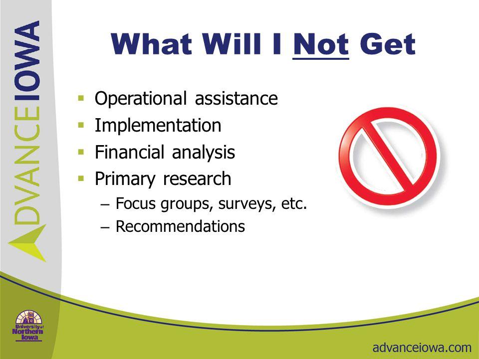 Welcome to the program  Questions about expectations  Next steps  Give us feedback  Dan Beenken, Director – 319-273-4322 – Dan.Beenken@advanceiowa.edu