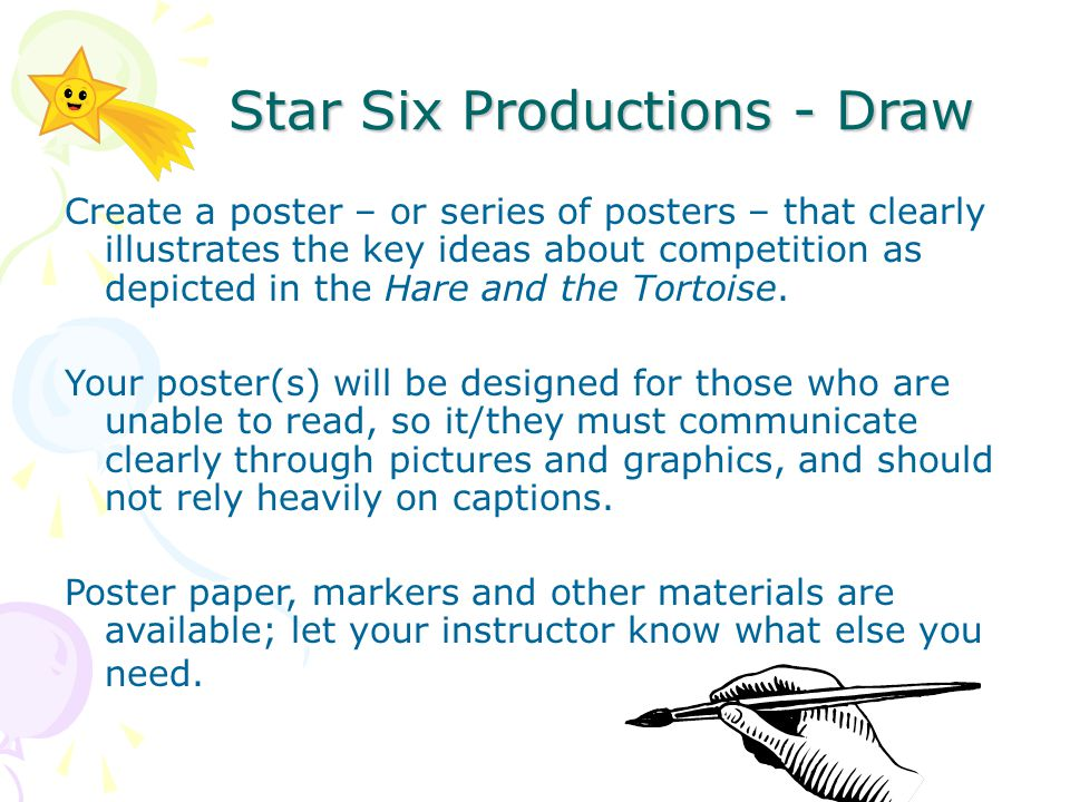 Create a poster – or series of posters – that clearly illustrates the key ideas about competition as depicted in the Hare and the Tortoise.