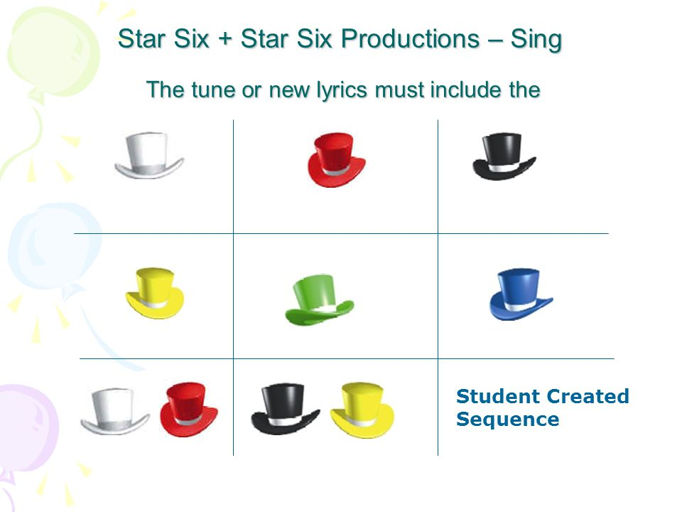 Star Six + Star Six Productions – Sing The tune or new lyrics must include the.