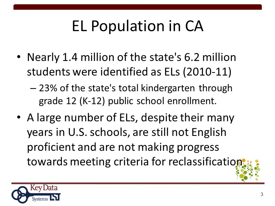 Reclassification Research Brief (2009) Reclassification status has an impact on many crucial areas for districts – EL program placement and allocation of resources, Title III funding, AMAO, and EL subgroup API and AYP calculations Compared rigor of RFEP policies – Districts with higher levels of reclassification rigor perform better than districts with lower levels of rigor 14