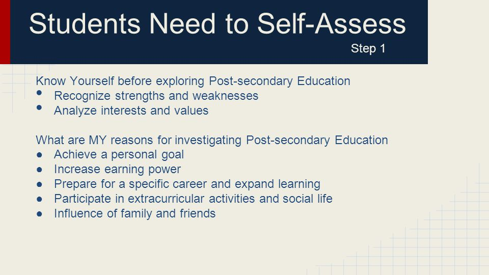 Students Need to Self-Assess Step 1 Know Yourself before exploring Post-secondary Education Recognize strengths and weaknesses Analyze interests and values What are MY reasons for investigating Post-secondary Education ●Achieve a personal goal ●Increase earning power ●Prepare for a specific career and expand learning ●Participate in extracurricular activities and social life ●Influence of family and friends