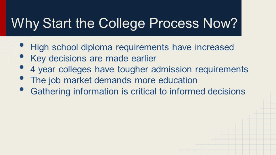 Why Start the College Process Now.