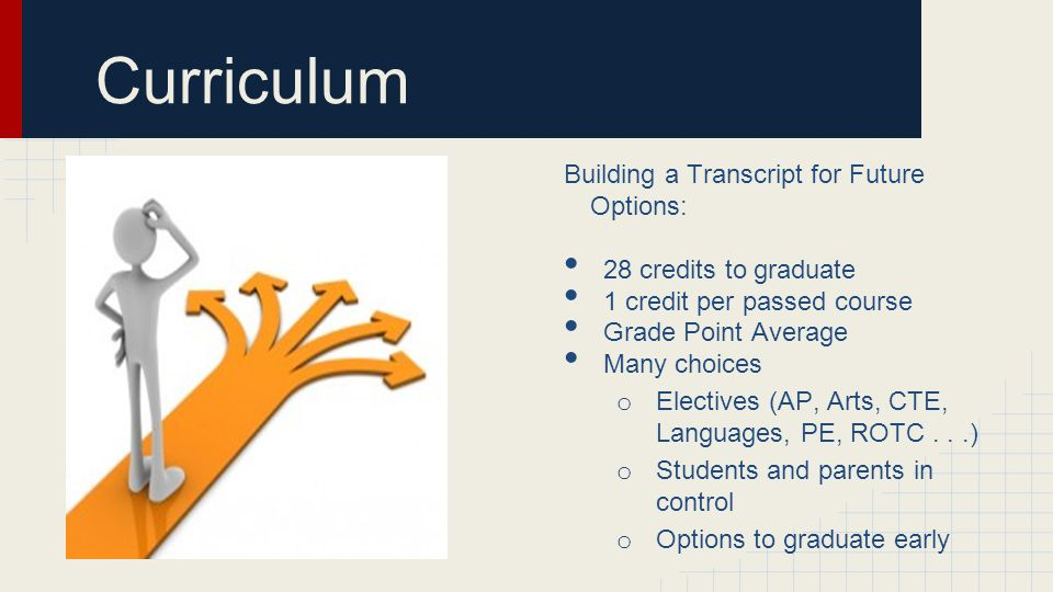 Curriculum Building a Transcript for Future Options: 28 credits to graduate 1 credit per passed course Grade Point Average Many choices o Electives (AP, Arts, CTE, Languages, PE, ROTC...) o Students and parents in control o Options to graduate early