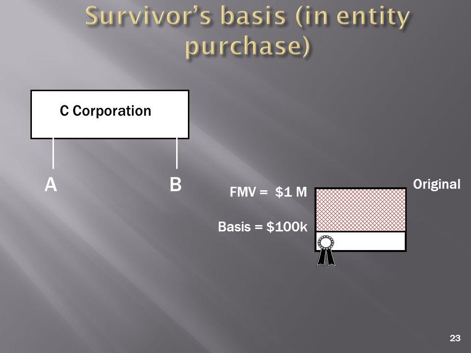23 C Corporation A B FMV = $1 M Basis = $100k Original