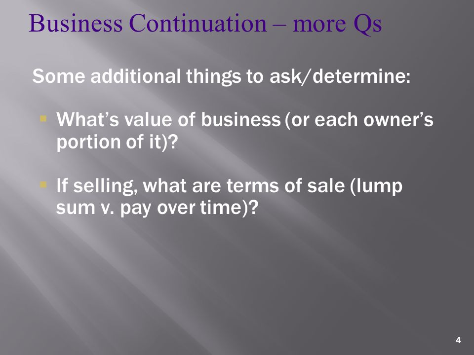 4 Some additional things to ask/determine:  What's value of business (or each owner's portion of it).