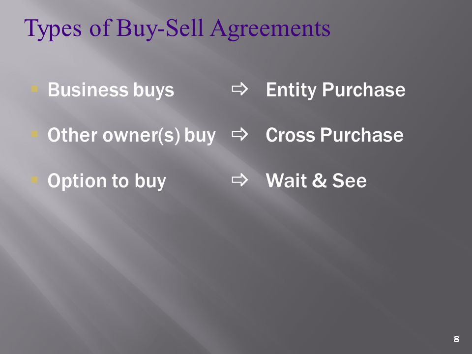 8 Types of Buy-Sell Agreements  Business buys  Entity Purchase  Other owner(s) buy  Cross Purchase  Option to buy  Wait & See