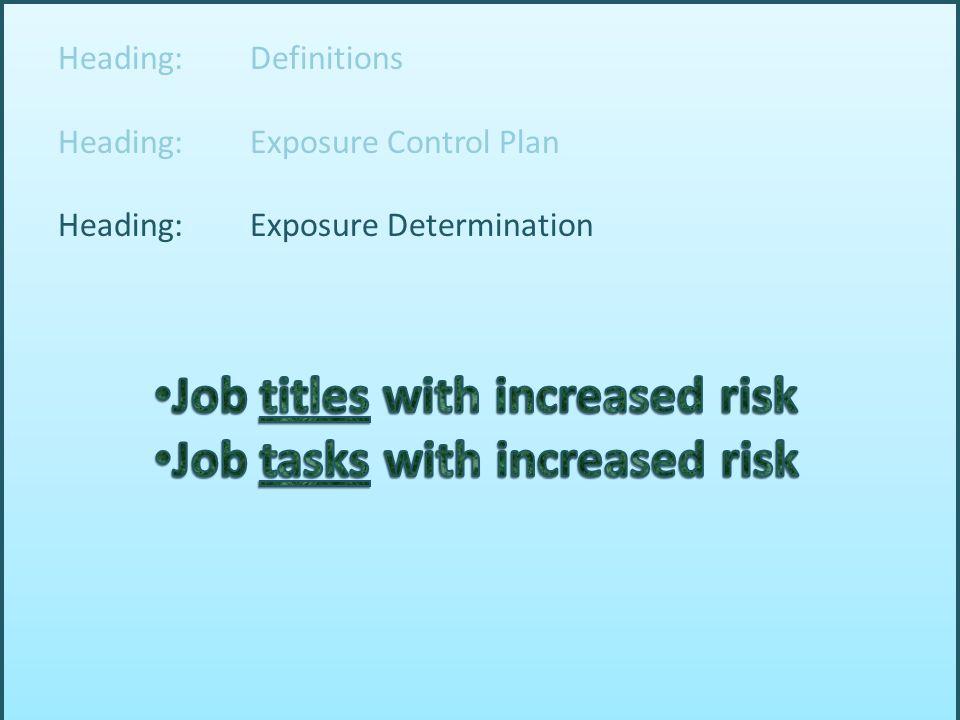Heading: Definitions Heading: Exposure Control Plan Heading: Exposure Determination