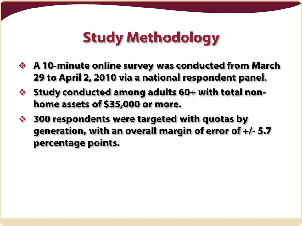 Study Methodology  A 10-minute online survey was conducted from March 29 to April 2, 2010 via a national respondent panel.