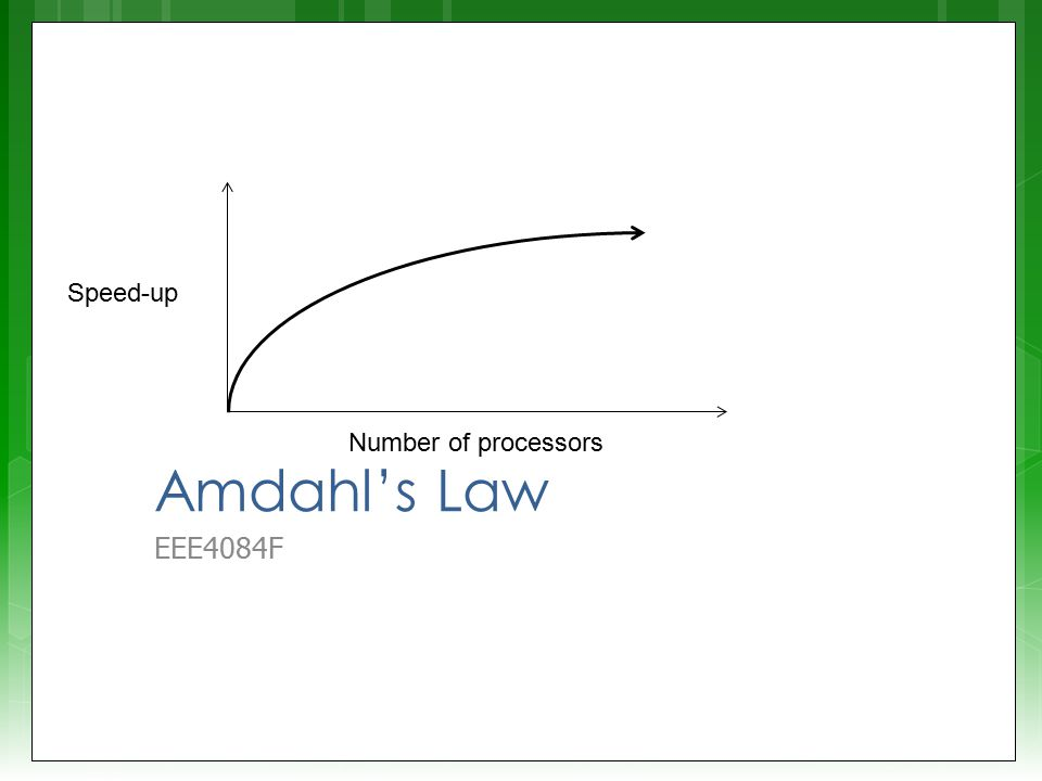 Amdahl's Law EEE4084F Speed-up Number of processors