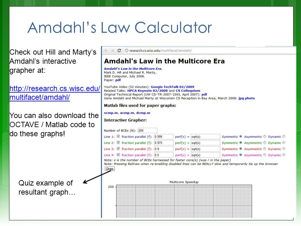 Amdahl's Law Calculator Check out Hill and Marty's Amdahl's interactive grapher at: http://research.cs.wisc.edu/ multifacet/amdahl/ http://research.cs.wisc.edu/ multifacet/amdahl/ You can also download the OCTAVE / Matlab code to do these graphs.