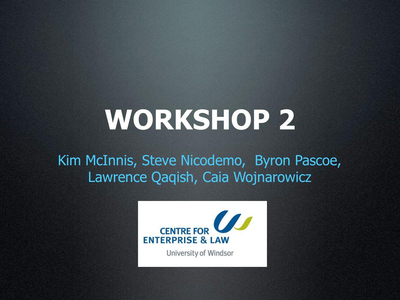 WORKSHOP 2 Kim McInnis, Steve Nicodemo, Byron Pascoe, Lawrence Qaqish, Caia Wojnarowicz