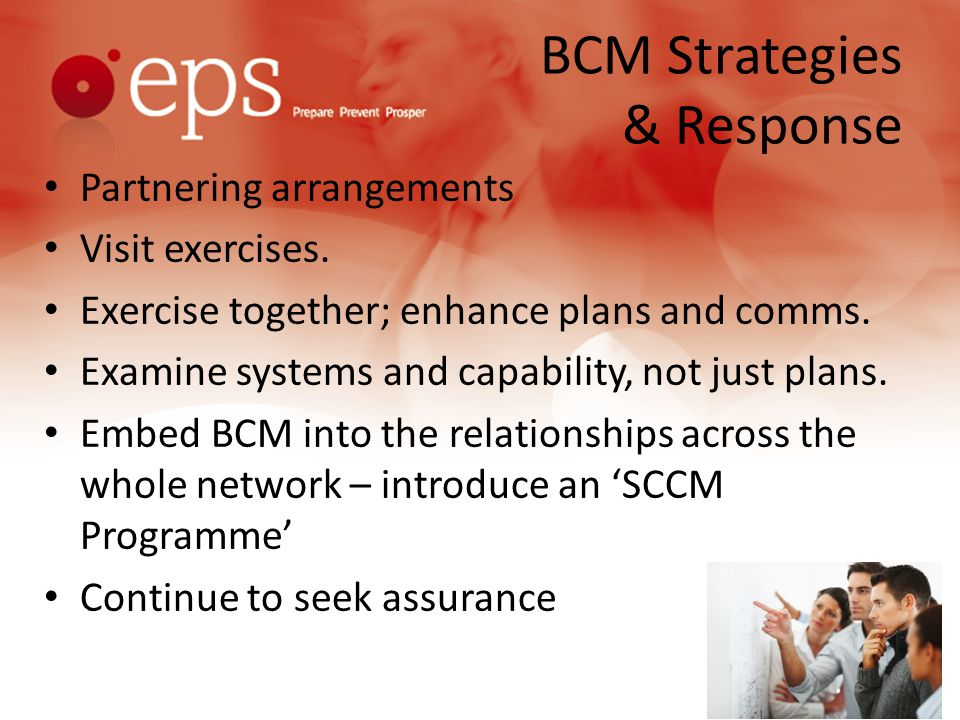 BCM Strategies & Response Partnering arrangements Visit exercises.