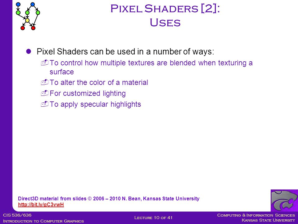 Computing & Information Sciences Kansas State University CIS 536/636 Introduction to Computer Graphics Lecture 10 of 41 Pixel Shaders can be used in a number of ways:  To control how multiple textures are blended when texturing a surface  To alter the color of a material  For customized lighting  To apply specular highlights Pixel Shaders [2]: Uses Direct3D material from slides © 2006 – 2010 N.
